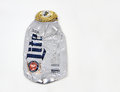 Crushed miller lite aluminum beer bottle fort lauderdale florida usa february and ready for recycling Royalty Free Stock Photo