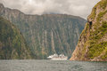 Crusing in Milford Sound, South Island, New Zealand Royalty Free Stock Photo