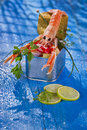 Crustacean canned presentation of a with mixed vegetables in box Stock Image