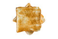 Crusty bread or toast sliced isolated on white background top view Royalty Free Stock Photography