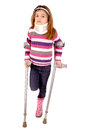 Crutches little girl with isolated in white Stock Image