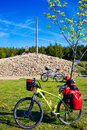 Cruz de ferro top at saint james way leon bikes spain Stock Image