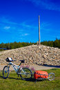Cruz de ferro top at saint james way leon bikes spain Royalty Free Stock Images