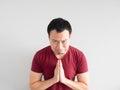 Sad man begging for forgiveness. Royalty Free Stock Photo