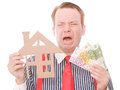 Crying business houseowner with money Royalty Free Stock Photo