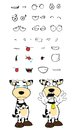 Crying cow cartoon expressions set in vector format very easy to edit Stock Images