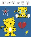 Crying cute tiger funny expressions cartoon set in vector format very easy to edit Royalty Free Stock Photography