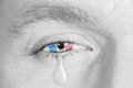 Crying eye with France Flag Royalty Free Stock Photo