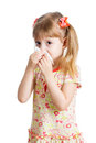 Crying girl isolated on white kid and cleaning nose with tissue Royalty Free Stock Photography