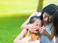 Crying little Asian girl Royalty Free Stock Images