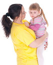 Crying little girl with her fat mother Royalty Free Stock Photography
