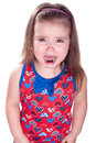 Crying little girl smiling on white Stock Images