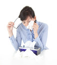 Crying sad businesswoman with handkerchief Royalty Free Stock Photography