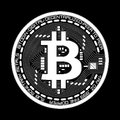 Crypto currency bitcoin black and white symbol