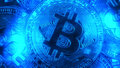 Crypto currency Gold Bitcoin - BTC - Bit Coin. Macro shots crypto currency Bitcoin coins. Holomatrix style blue. Royalty Free Stock Photo
