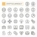 Cryptocurrency, bitcoin, blockchain - minimal thin line web icon set 32pc, simple outline vector icons collection