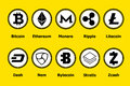 Cryptocurrency blockchain icons a yellow background. Set virtual currency.Vector trading signs: bitcoin, ethereum, monero, ripple, Royalty Free Stock Photo
