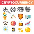 Cryptocurrency Coins Icon Set Vector. Crypto Cash. Security. Gold Money. Mining Virtual Sig. Financial Internet Market