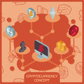 Cryptocurrency color isometric concept Royalty Free Stock Photo