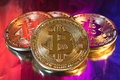 Cryptocurrency physical golden bitcoin coin on colorful background Royalty Free Stock Photo
