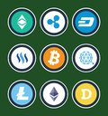Cryptocurrency Symbols Inside Circles Collection