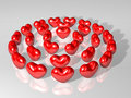Crystal 3d heart array as three round Stock Photography