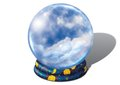 Crystal ball with clouds fortune teller s on a white background Royalty Free Stock Images