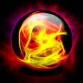 Crystal ball contains orange yellow fire Royalty Free Stock Photos