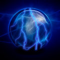 Crystal ball electric on blue Royalty Free Stock Photos
