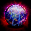 Crystal ball with electric charges Royalty Free Stock Photos