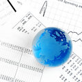 Crystal Ball on the financial section Stock Images