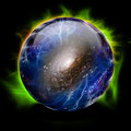 Crystal ball glowing shows galaxy Royalty Free Stock Image