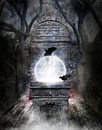Crystal ball in passageway a filled with stars and electricity on an ornate pedestal a mystical concept for the occult or mystical Stock Photos