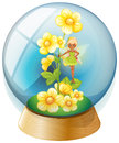 A crystal ball with pink flowers and a fairy illustration of on white background Royalty Free Stock Photography
