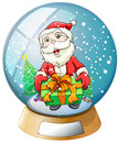 A crystal ball with santa claus inside illustration of on white background Royalty Free Stock Photos