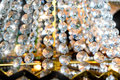 Crystal beads chandelier decoration close up Royalty Free Stock Photo