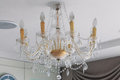 Crystal chandelier on ceiling for decoration Stock Photo