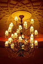 Crystal chandelier with emboss ceiling Royalty Free Stock Image
