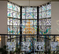 Crystal chandelier and leaded pane in music school hall Royalty Free Stock Photo