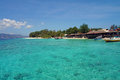 Crystal clear turquoise water off the gili meno s coast pristine Royalty Free Stock Photography