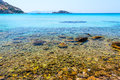 Crystal clear waters of the sea aegean Stock Image