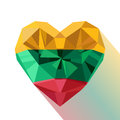 Crystal gem jewelry heart with the flag of the Republic of Lithuania.