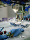 Crystal glass on a dining table Stock Image