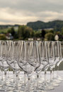 Crystal glass goblets Royalty Free Stock Photo