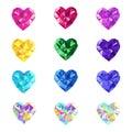 Crystal jewel vector hearts