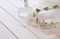 Crystal necklace, white floral tiara and perfume bottle Royalty Free Stock Photo