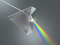 Crystal prism the disperses white light into many colors Stock Photo