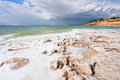 Crystal salt beach on Dead Sea coast - 8 Stock Image