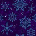Crystal Snowflake Seamless Pattern Texture In Deep Blue Tone