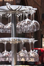 Crystal wineglasses near a luxurious bar Stock Image